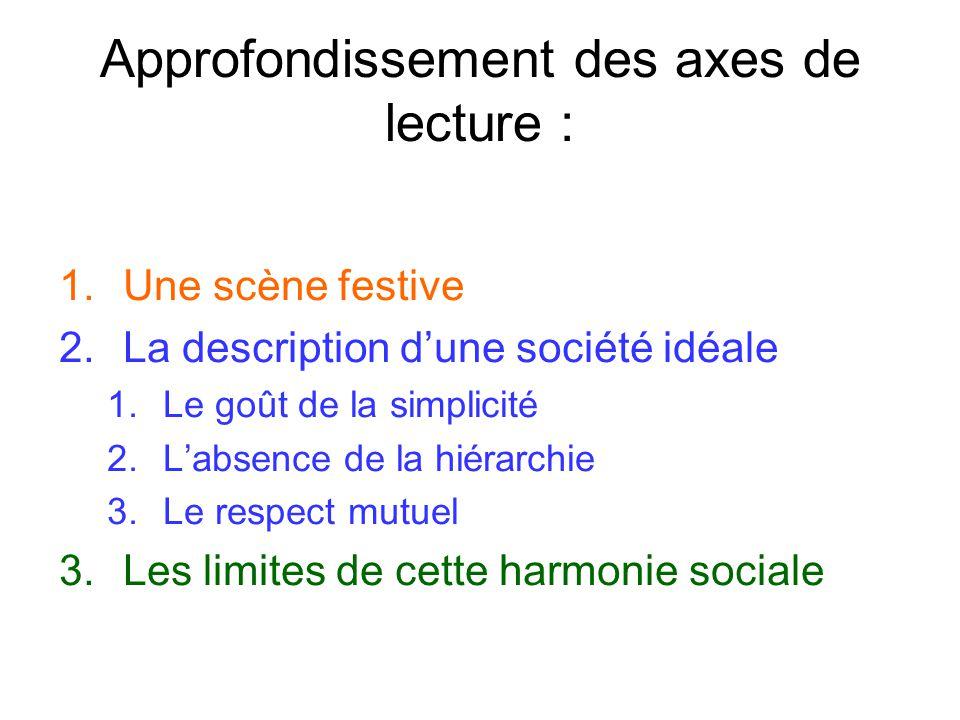 Approfondissement des axes de lecture : 1.Une scène festive 2.La description dune société idéale 1.Le goût de la simplicité 2.Labsence de la hiérarchi