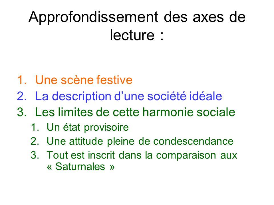 Approfondissement des axes de lecture : 1.Une scène festive 2.La description dune société idéale 3.Les limites de cette harmonie sociale 1.Un état pro