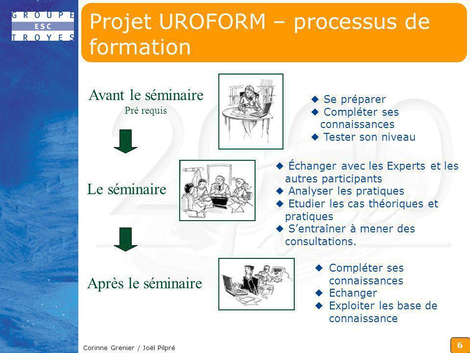 6 Corinne Grenier / Joël Pilpré Projet UROFORM – processus de formation Avant le séminaire Pré requis Le séminaire Après le séminaire Se préparer Comp