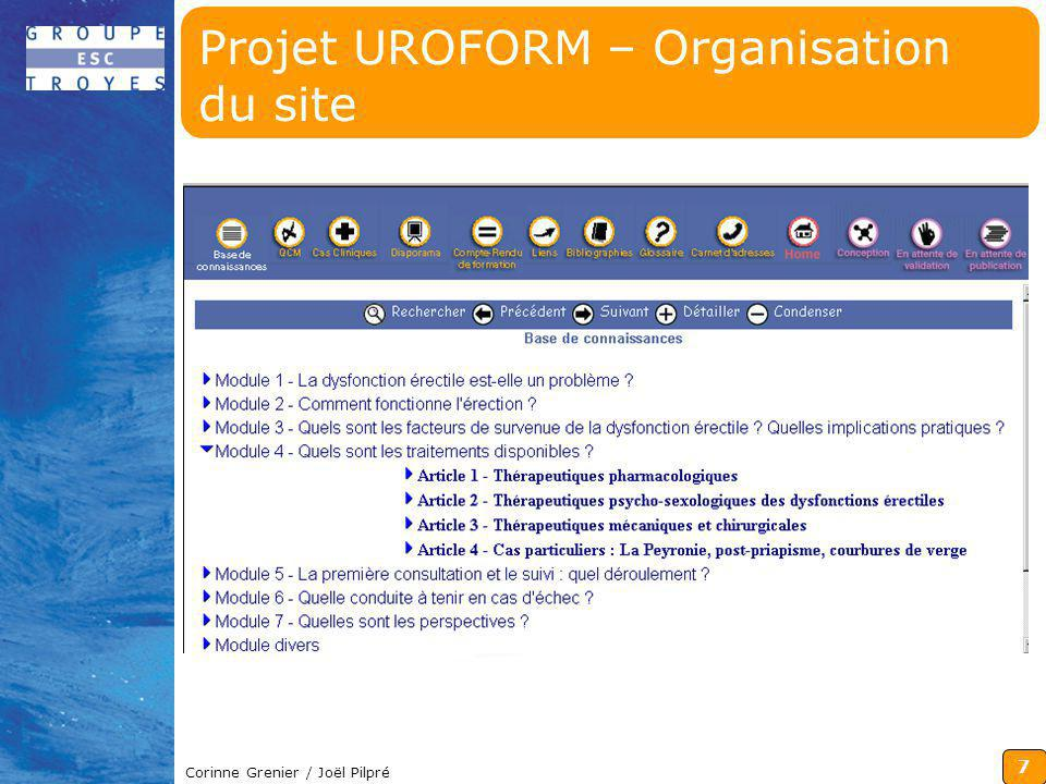 8 Corinne Grenier / Joël Pilpré Projet UROFORM – Organisation du site, suite