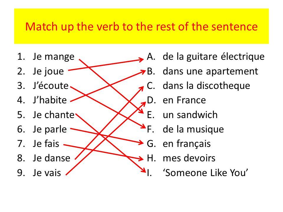 Match up the verb to the rest of the sentence 1.Je mange 2.Je joue 3.Jécoute 4.Jhabite 5.Je chante 6.Je parle 7.Je fais 8.Je danse 9.Je vais A.de la guitare électrique B.dans une apartement C.dans la discotheque D.en France E.un sandwich F.de la musique G.en français H.mes devoirs I.Someone Like You