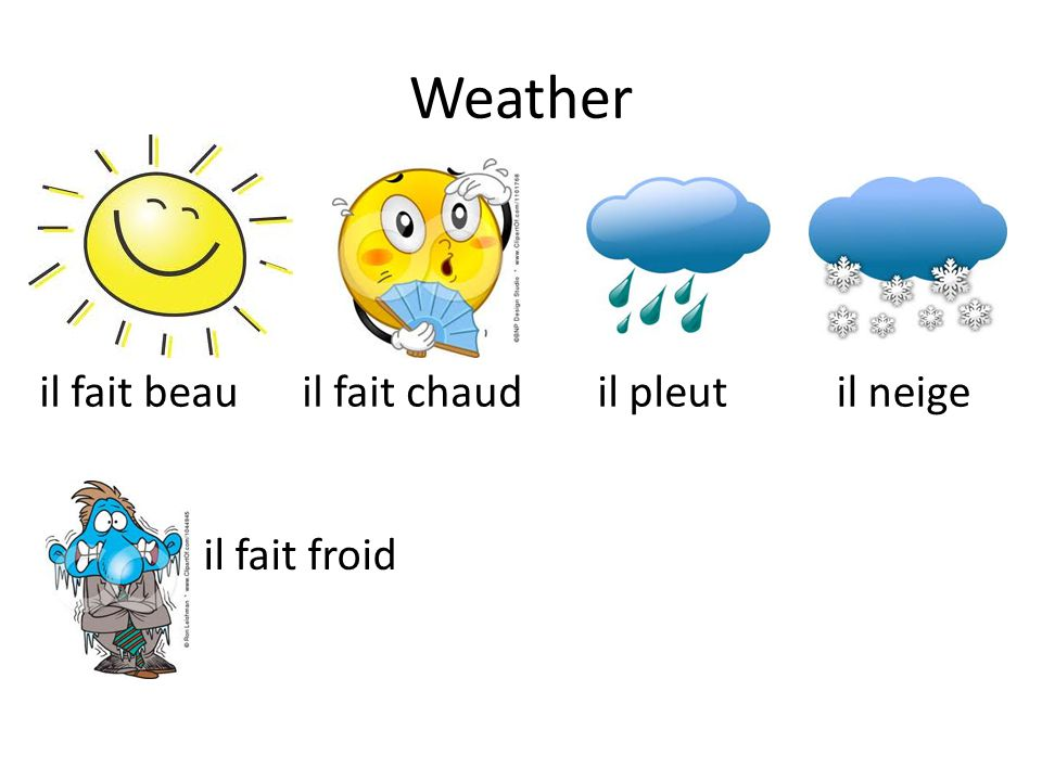 Weather il fait beau il fait chaud il fait froid il pleut il neige