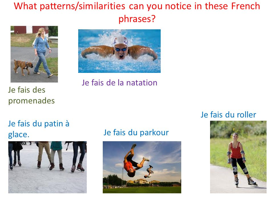 What patterns/similarities can you notice in these French phrases.