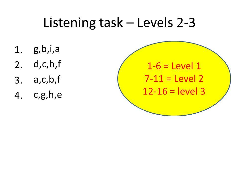 Listening task – Levels 2-3 1. 2. 3. 4.