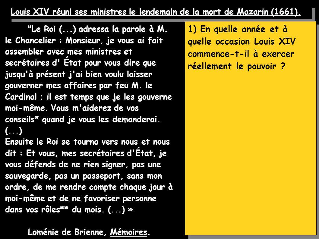 Louis XIV réuni ses ministres le lendemain de la mort de Mazarin (1661).