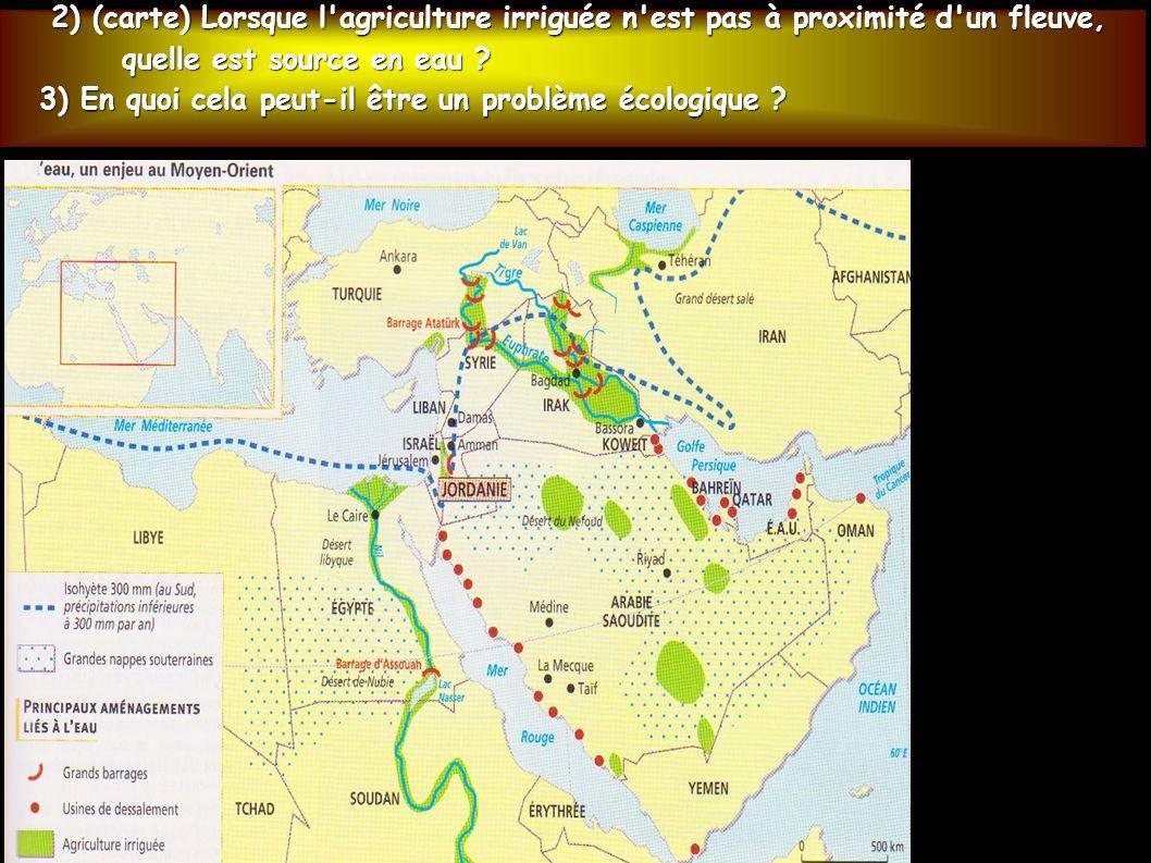 2) (carte) Lorsque l'agriculture irriguée n'est pas à proximité d'un fleuve, 2) (carte) Lorsque l'agriculture irriguée n'est pas à proximité d'un fleu