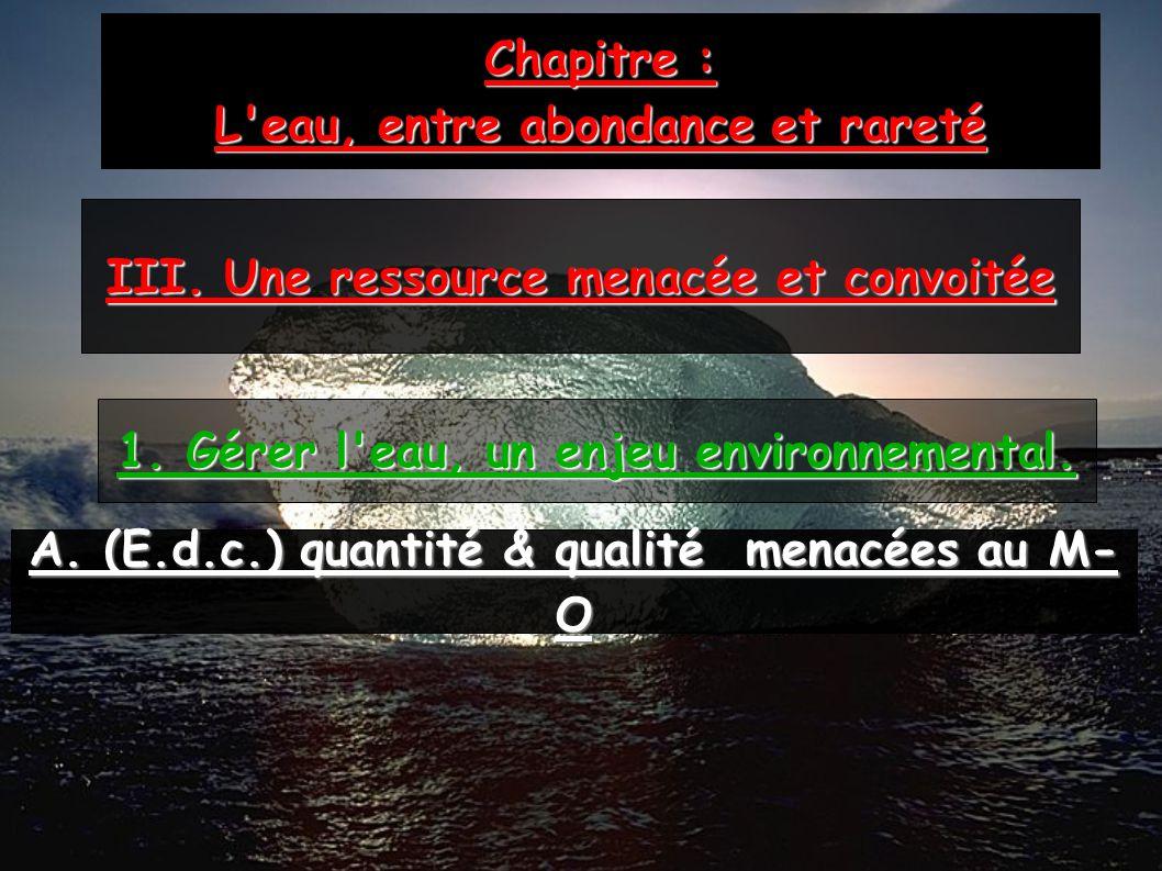 Chapitre : L'eau, entre abondance et rareté III. Une ressource menacée et convoitée 1. Gérer l'eau, un enjeu environnemental. A. (E.d.c.) quantité & q