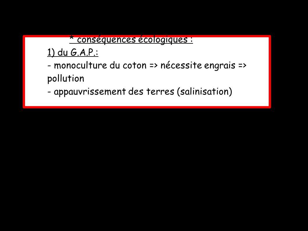 * conséquences écologiques : 1) du G.A.P.: - monoculture du coton => nécessite engrais => pollution - appauvrissement des terres (salinisation)