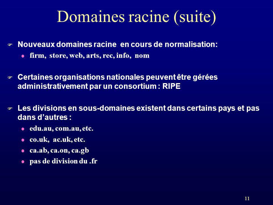 11 Domaines racine (suite) F Nouveaux domaines racine en cours de normalisation: l firm, store, web, arts, rec, info, nom F Certaines organisations na