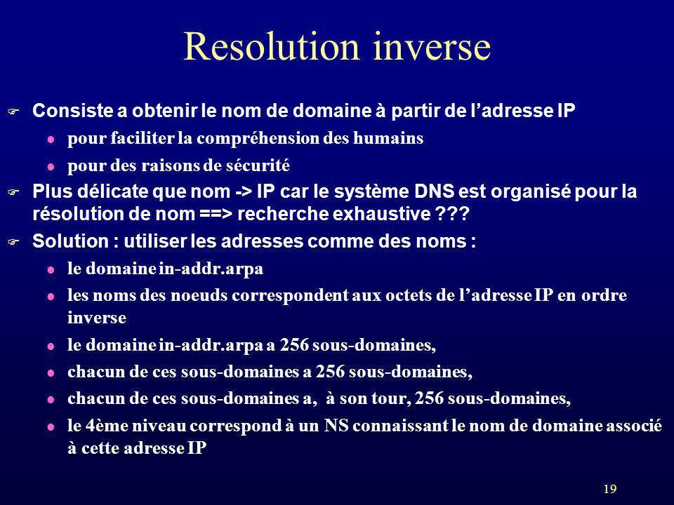 19 Resolution inverse F Consiste a obtenir le nom de domaine à partir de ladresse IP l pour faciliter la compréhension des humains l pour des raisons