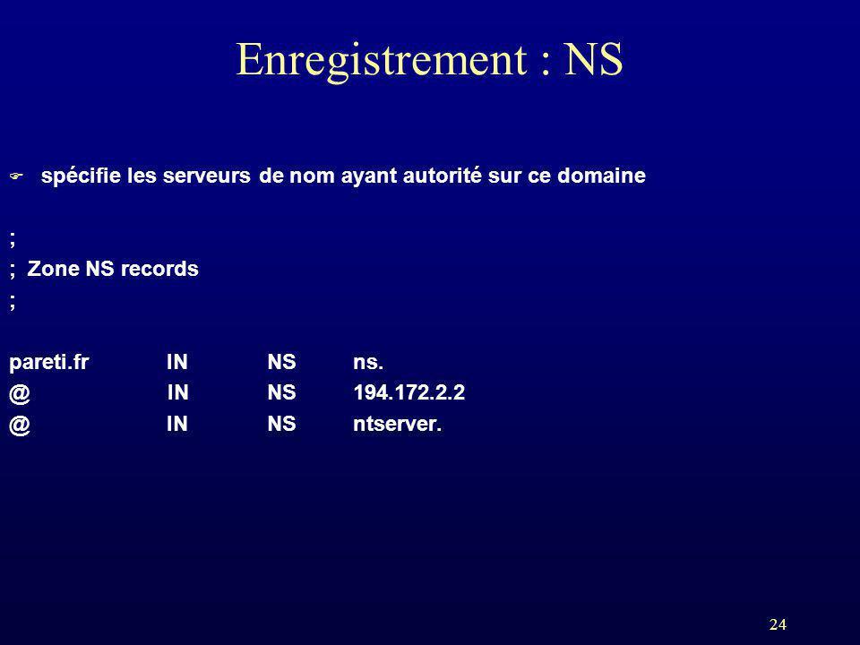 24 Enregistrement : NS F spécifie les serveurs de nom ayant autorité sur ce domaine ; ; Zone NS records ; pareti.fr INNSns. @ INNS194.172.2.2 @ INNSnt
