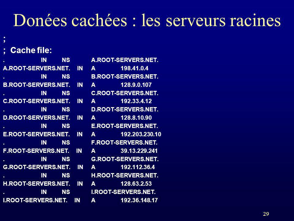 29 Donées cachées : les serveurs racines ; ; Cache file:. INNSA.ROOT-SERVERS.NET. A.ROOT-SERVERS.NET. INA198.41.0.4. INNSB.ROOT-SERVERS.NET. B.ROOT-SE