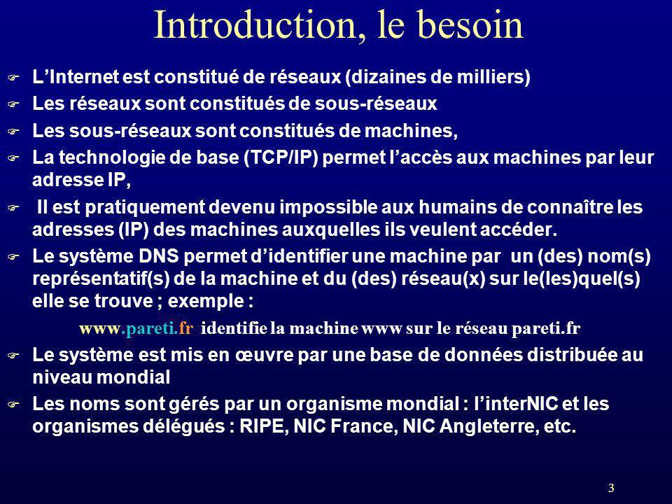3 Introduction, le besoin F LInternet est constitué de réseaux (dizaines de milliers) F Les réseaux sont constitués de sous-réseaux F Les sous-réseaux