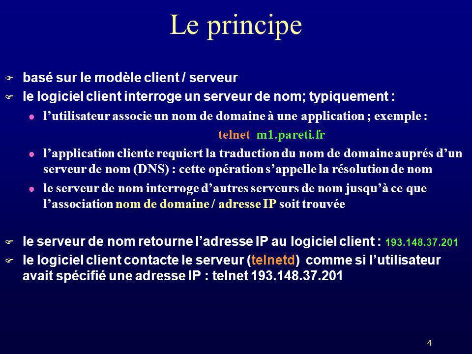 4 Le principe F basé sur le modèle client / serveur F le logiciel client interroge un serveur de nom; typiquement : l lutilisateur associe un nom de d