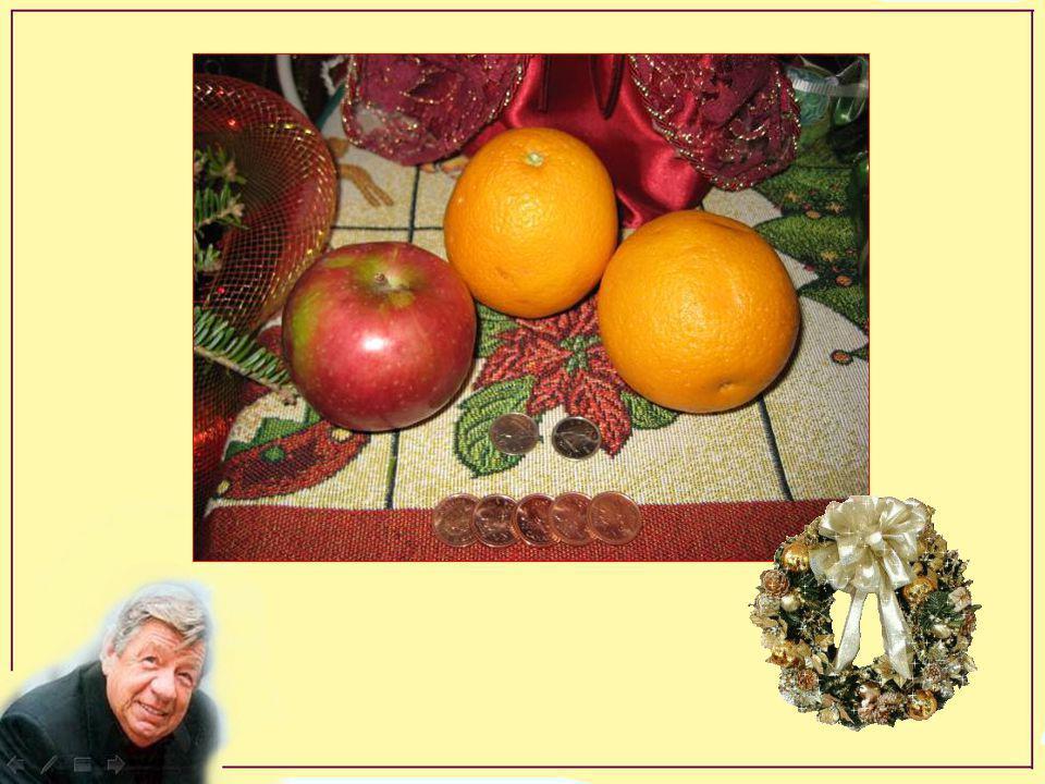 Hé! regarde-moi donc ça: une pomme, deux oranges une pognée de klondykes deux dix cents pis 5 cents en cents non, mais ça s'peux-tu, ça ? Juste pour m
