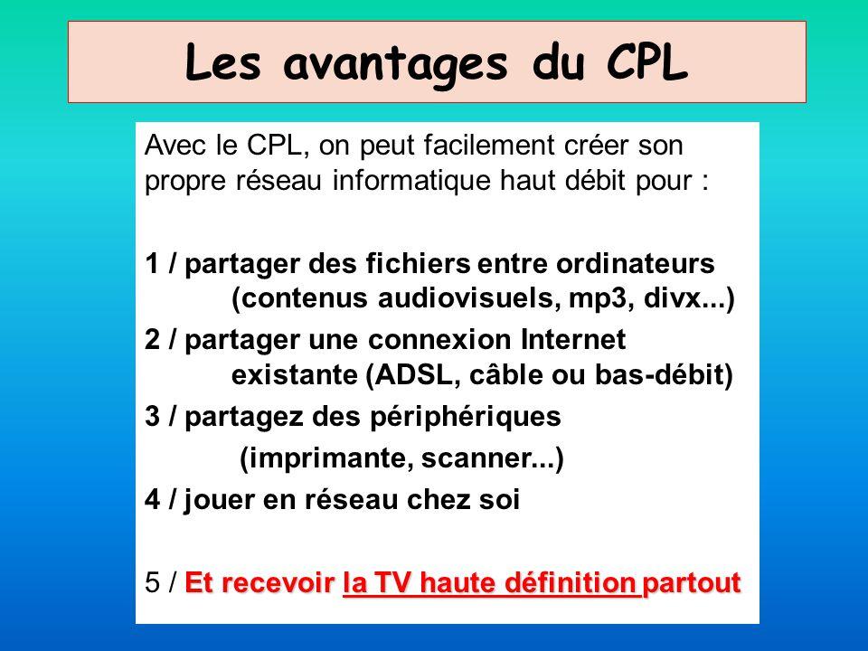 Les avantages du CPL Avec le CPL, on peut facilement créer son propre réseau informatique haut débit pour : 1 / partager des fichiers entre ordinateur