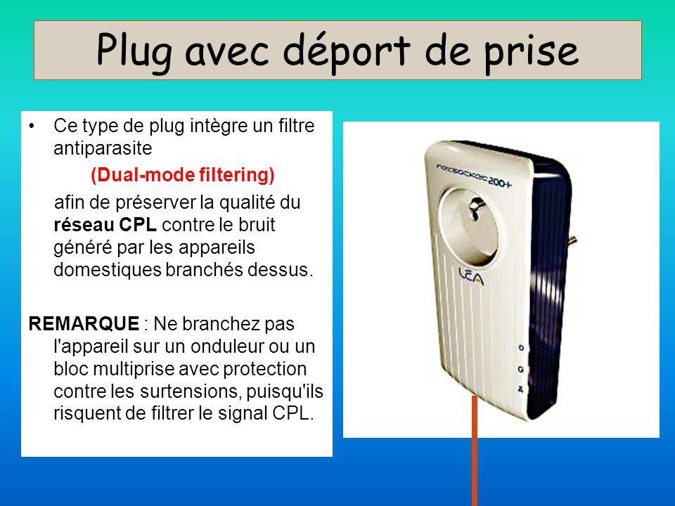 Plug avec déport de prise Ce type de plug intègre un filtre antiparasite (Dual-mode filtering) afin de préserver la qualité du réseau CPL contre le br