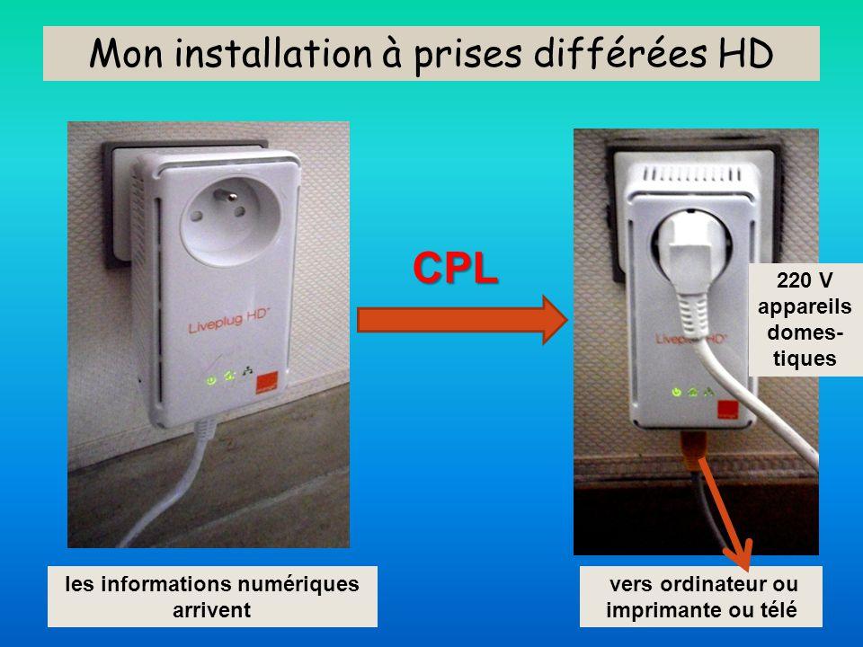 Mon installation à prises différées HD vers ordinateur ou imprimante ou télé 220 V appareils domes- tiques les informations numériques arrivent CPL