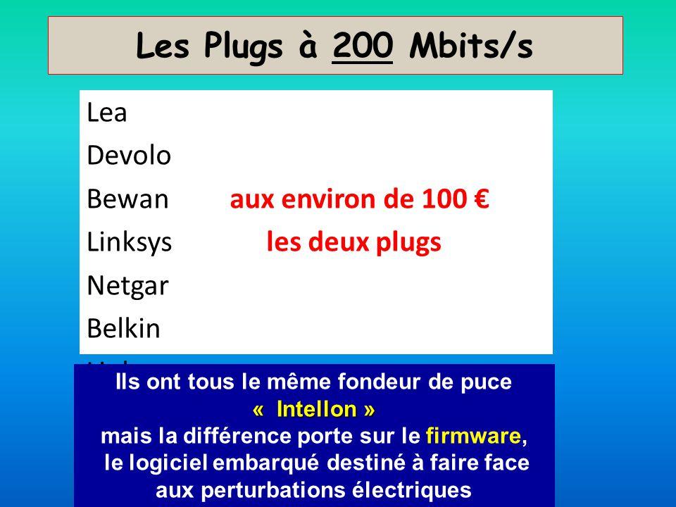 Les Plugs à 200 Mbits/s Lea Devolo Bewan aux environ de 100 Linksys les deux plugs Netgar Belkin Linksys « Intellon » Ils ont tous le même fondeur de