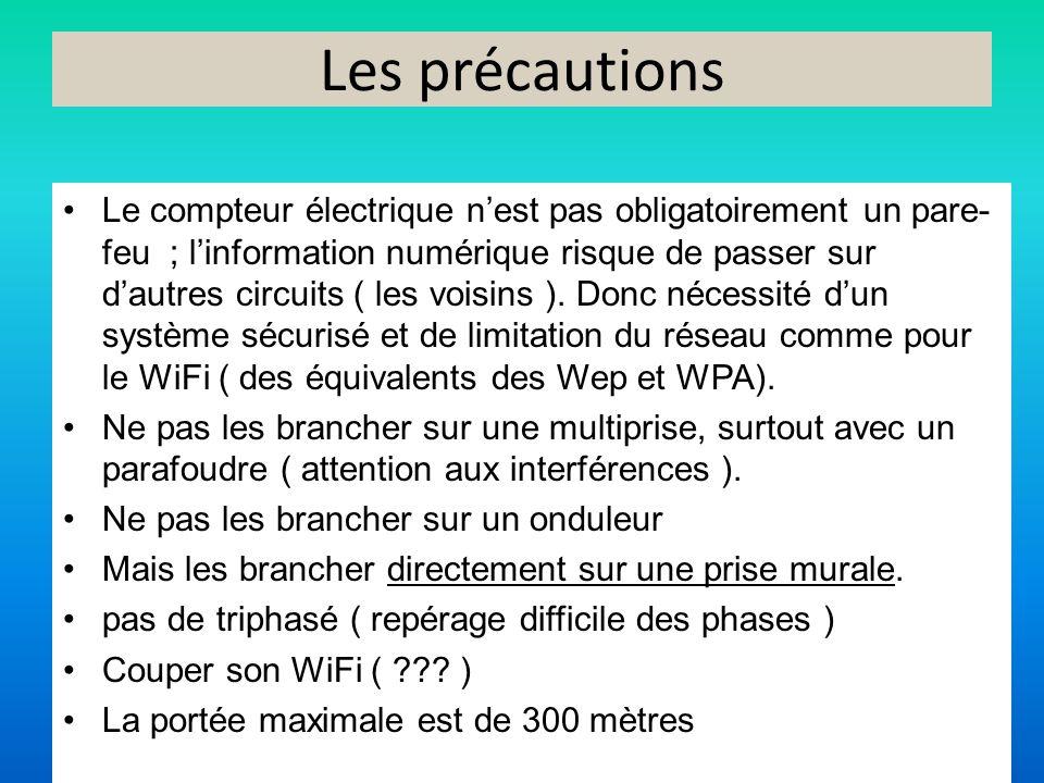Les précautions Le compteur électrique nest pas obligatoirement un pare- feu ; linformation numérique risque de passer sur dautres circuits ( les vois