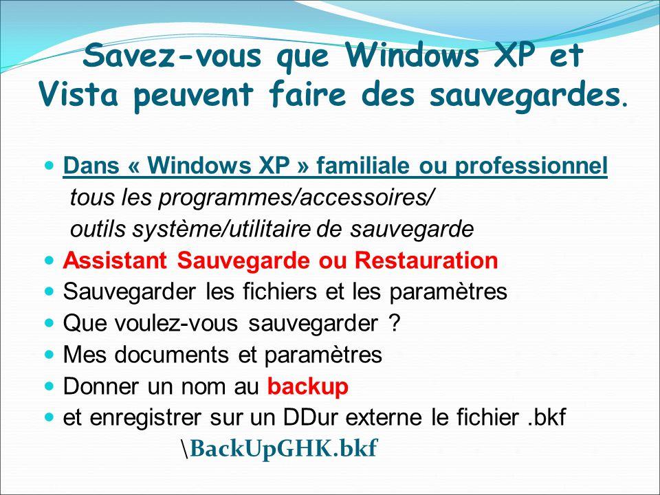 Savez-vous que Windows XP et Vista peuvent faire des sauvegardes. Dans « Windows XP » familiale ou professionnel tous les programmes/accessoires/ outi