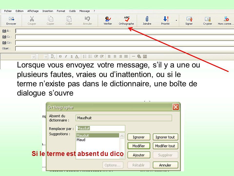 Lorsque vous envoyez votre message, sil y a une ou plusieurs fautes, vraies ou dinattention, ou si le terme nexiste pas dans le dictionnaire, une boît