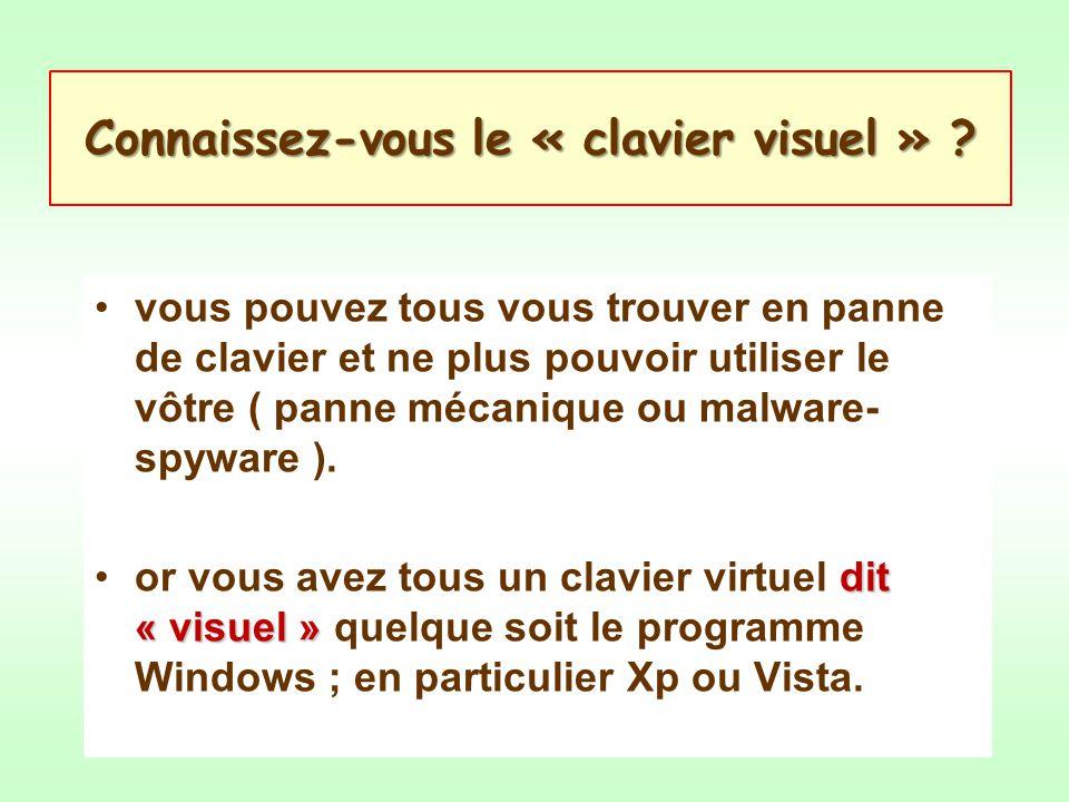 Connaissez-vous le « clavier visuel » ? vous pouvez tous vous trouver en panne de clavier et ne plus pouvoir utiliser le vôtre ( panne mécanique ou ma