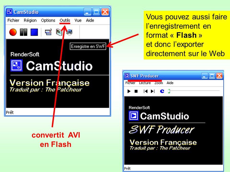 Vous pouvez aussi faire lenregistrement en format « Flash » et donc lexporter directement sur le Web SWF convertit AVI en Flash convertit AVI en Flash