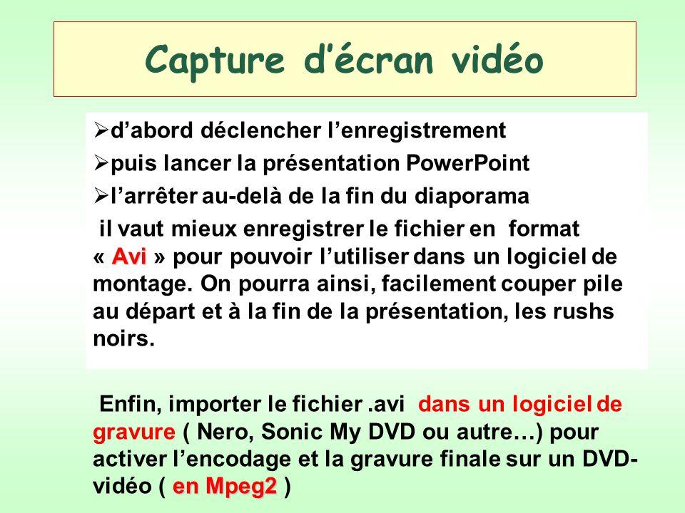 Capture décran vidéo dabord déclencher lenregistrement puis lancer la présentation PowerPoint larrêter au-delà de la fin du diaporama Avi il vaut mieu