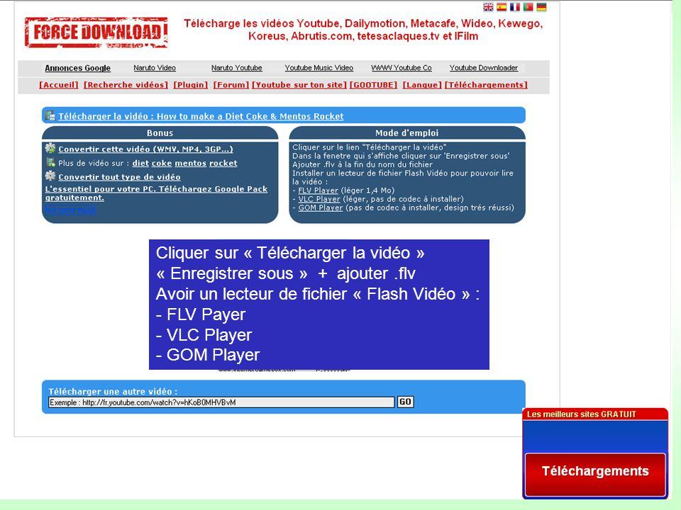 Cliquer sur « Télécharger la vidéo » « Enregistrer sous » + ajouter.flv Avoir un lecteur de fichier « Flash Vidéo » : - FLV Payer - VLC Player - GOM Player