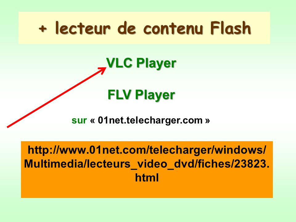 + lecteur de contenu Flash http://www.01net.com/telecharger/windows/ Multimedia/lecteurs_video_dvd/fiches/23823. html VLC Player FLV Player sur « 01ne
