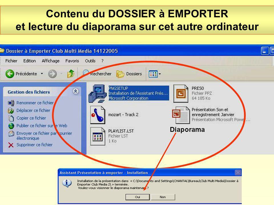 Contenu du DOSSIER à EMPORTER et lecture du diaporama sur cet autre ordinateur Diaporama