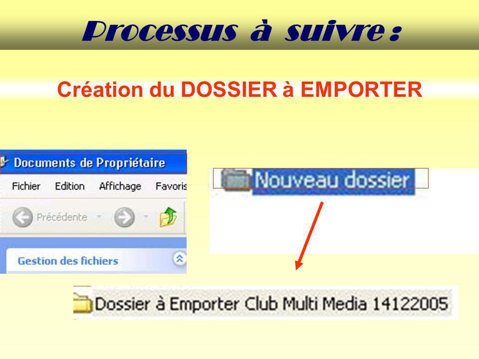 Création du DOSSIER à EMPORTER Processus à suivre :