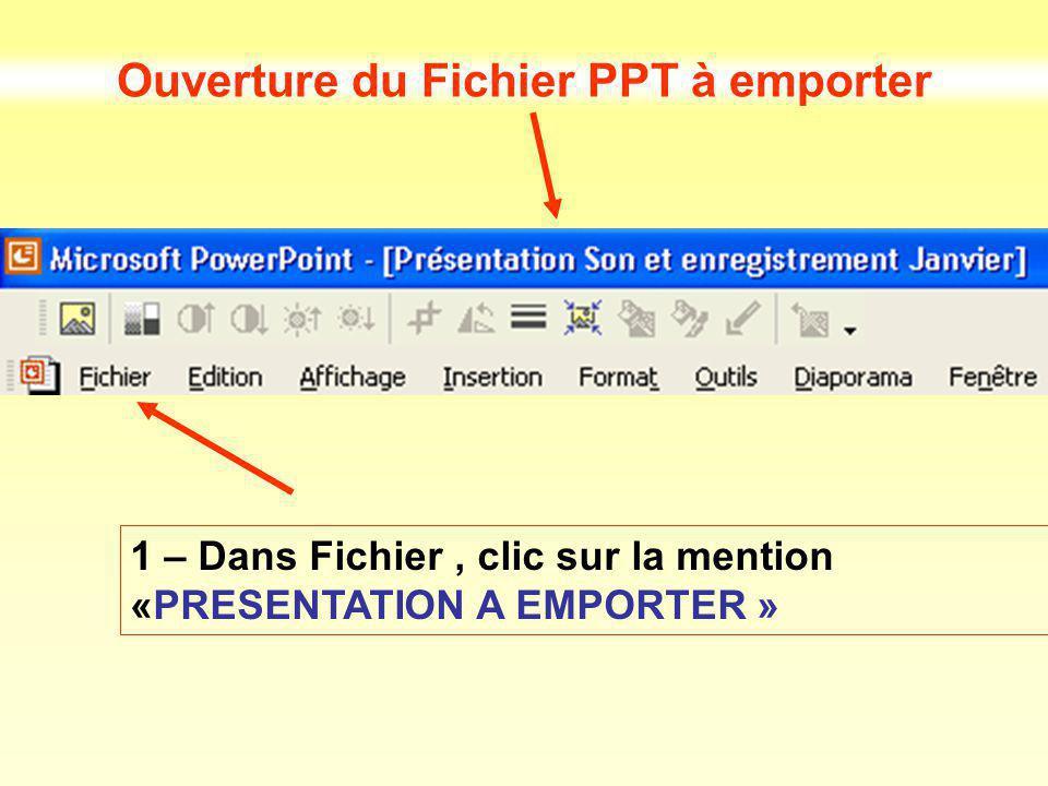 Ouverture du Fichier PPT à emporter 1 – Dans Fichier, clic sur la mention «PRESENTATION A EMPORTER »