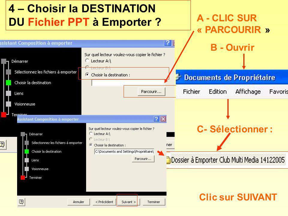 A - CLIC SUR « PARCOURIR » B - Ouvrir Clic sur SUIVANT C- Sélectionner : 4 – Choisir la DESTINATION DU Fichier PPT à Emporter ?