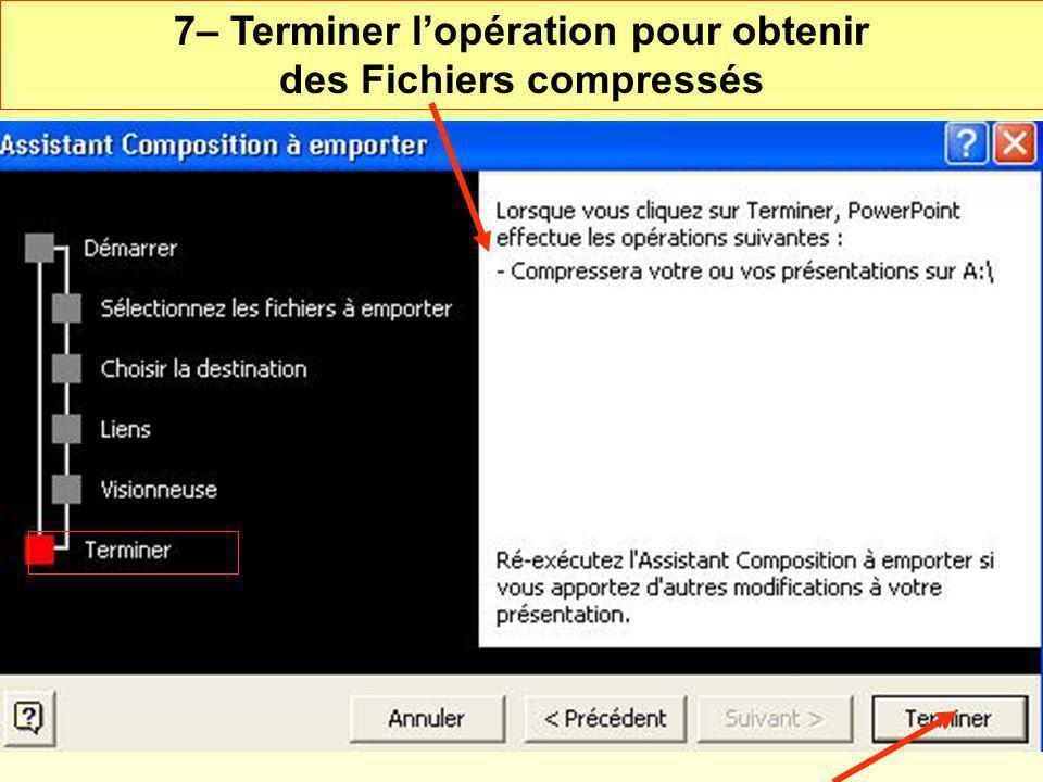7– Terminer lopération pour obtenir des Fichiers compressés
