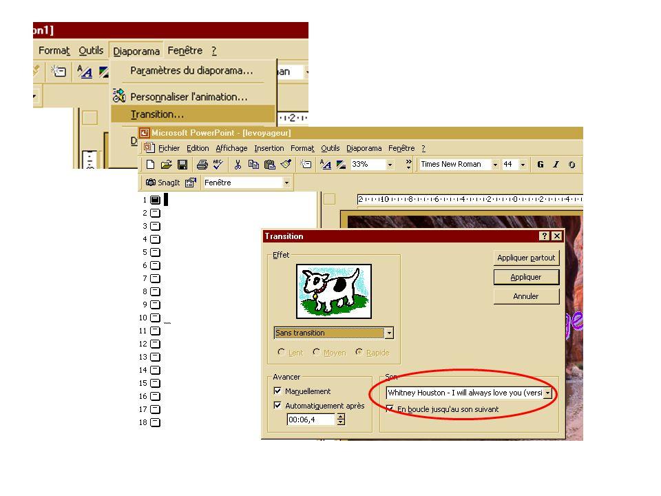 Exemple a partir du fichier Le voyageur que Bernard nous a envoyé Dans ce fichier le son à été installé par : Diaporama /Transition/Son
