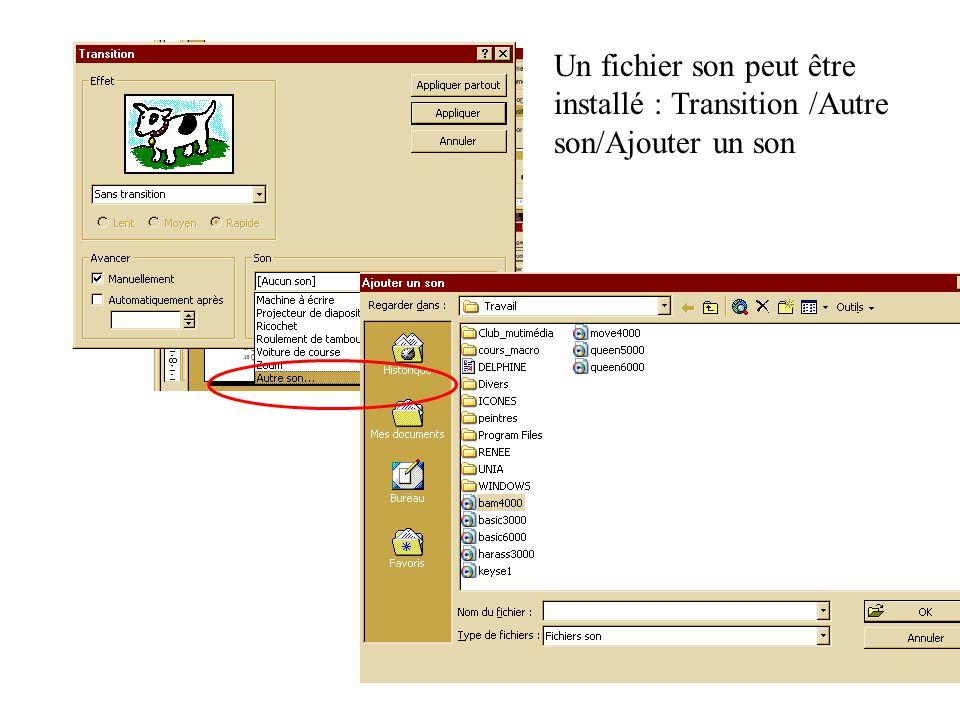 Un fichier son peut être installé : Transition /Autre son/Ajouter un son