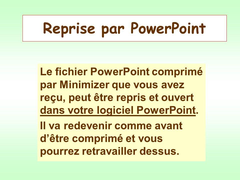 Reprise par PowerPoint Le fichier PowerPoint comprimé par Minimizer que vous avez reçu, peut être repris et ouvert dans votre logiciel PowerPoint.