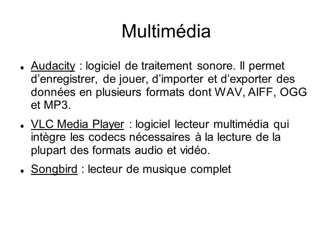 Multimédia Audacity : logiciel de traitement sonore. Il permet denregistrer, de jouer, dimporter et dexporter des données en plusieurs formats dont WA