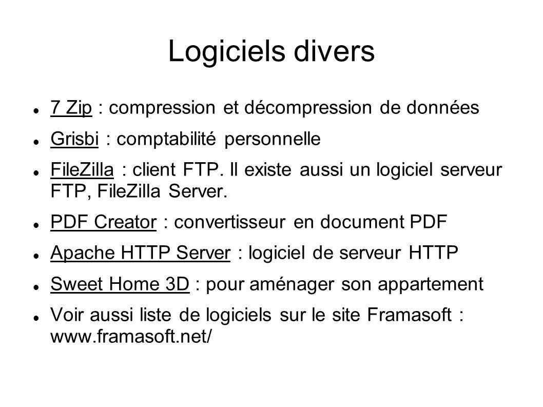 Logiciels divers 7 Zip : compression et décompression de données Grisbi : comptabilité personnelle FileZilla : client FTP. Il existe aussi un logiciel