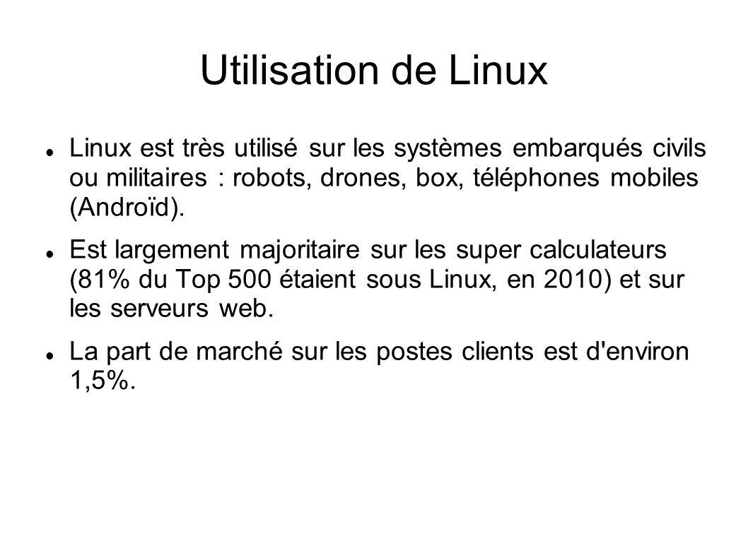 Utilisation de Linux Linux est très utilisé sur les systèmes embarqués civils ou militaires : robots, drones, box, téléphones mobiles (Androïd).