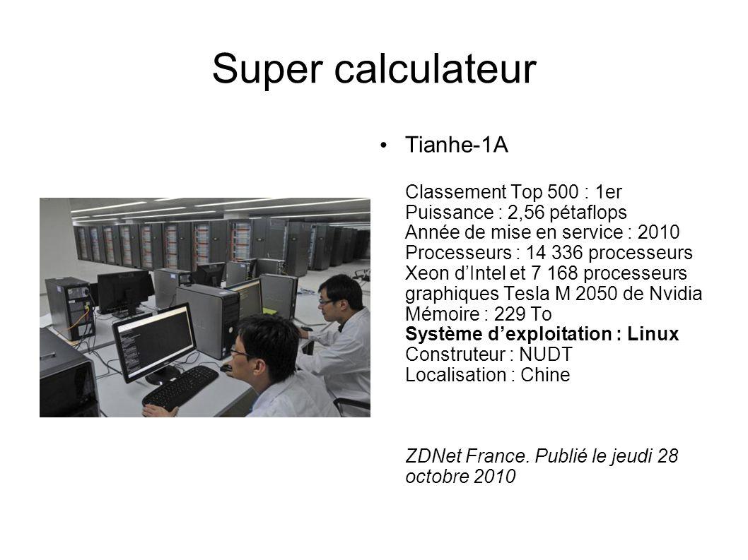 Super calculateur Tianhe-1A Classement Top 500 : 1er Puissance : 2,56 pétaflops Année de mise en service : 2010 Processeurs : 14 336 processeurs Xeon dIntel et 7 168 processeurs graphiques Tesla M 2050 de Nvidia Mémoire : 229 To Système dexploitation : Linux Construteur : NUDT Localisation : Chine ZDNet France.