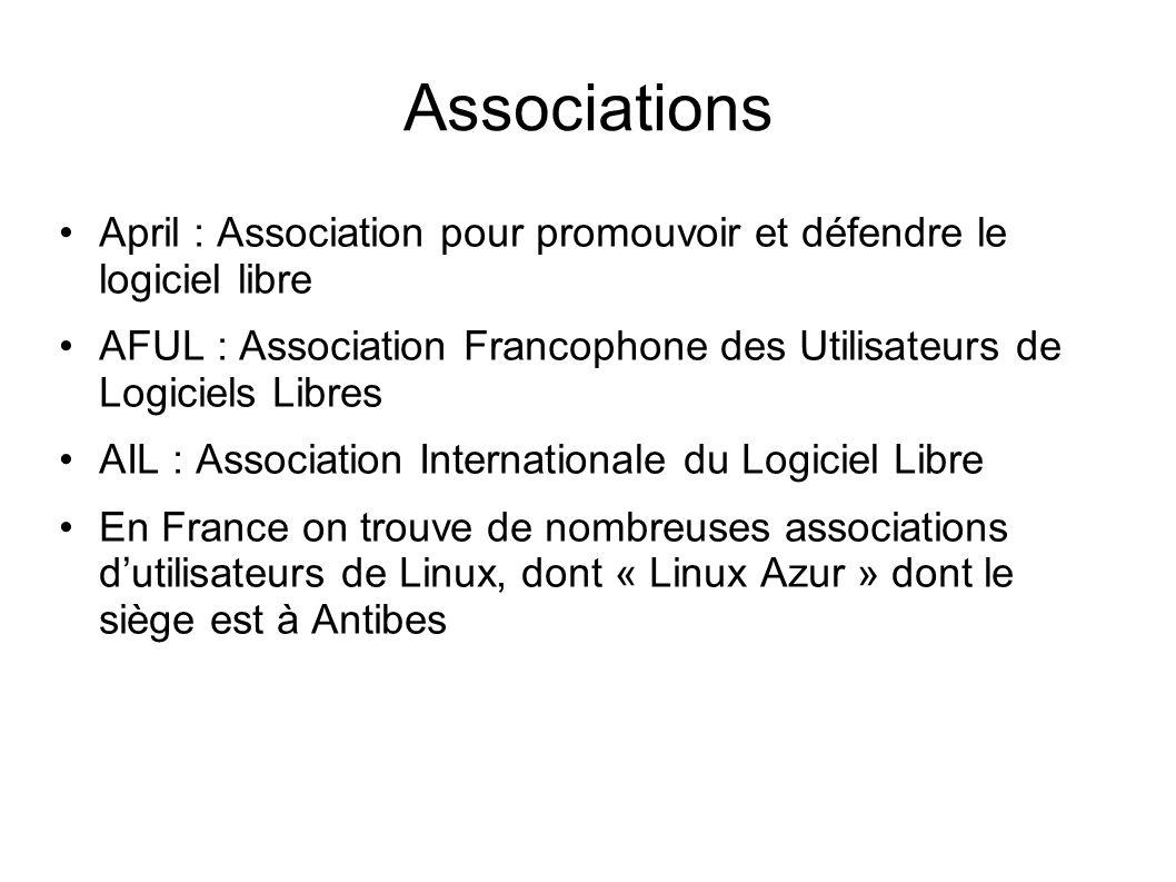 Associations April : Association pour promouvoir et défendre le logiciel libre AFUL : Association Francophone des Utilisateurs de Logiciels Libres AIL : Association Internationale du Logiciel Libre En France on trouve de nombreuses associations dutilisateurs de Linux, dont « Linux Azur » dont le siège est à Antibes