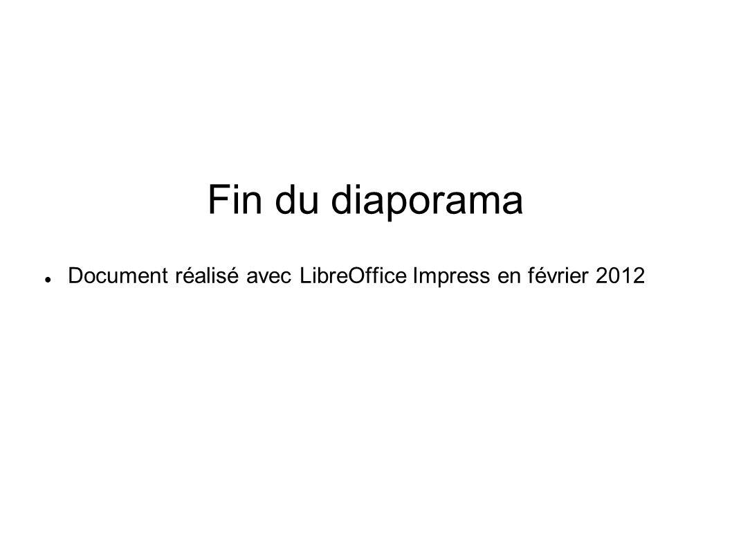 Fin du diaporama Document réalisé avec LibreOffice Impress en février 2012