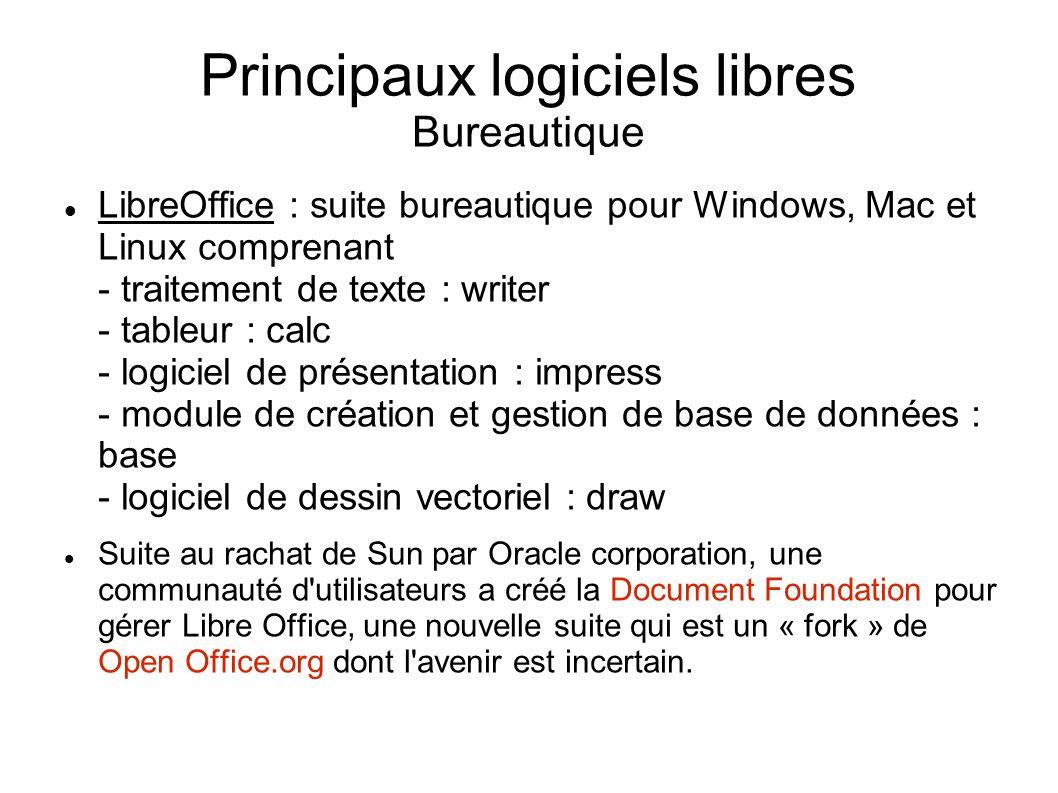 Principaux logiciels libres Bureautique LibreOffice : suite bureautique pour Windows, Mac et Linux comprenant - traitement de texte : writer - tableur