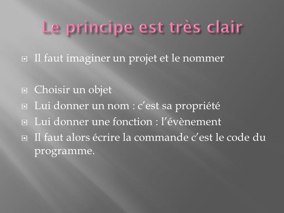 Il faut imaginer un projet et le nommer Choisir un objet Lui donner un nom : cest sa propriété Lui donner une fonction : lévènement Il faut alors écrire la commande cest le code du programme.