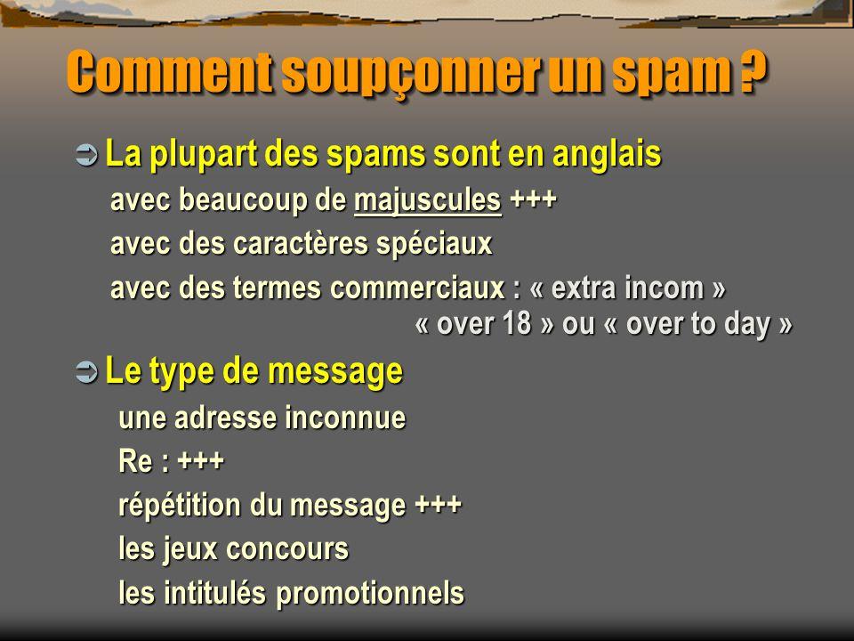 Comment soupçonner un spam ? La plupart des spams sont en anglais La plupart des spams sont en anglais avec beaucoup de majuscules +++ avec des caract