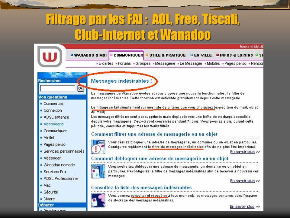 Filtrage par les FAI : AOL, Free, Tiscali, Club-Internet et Wanadoo