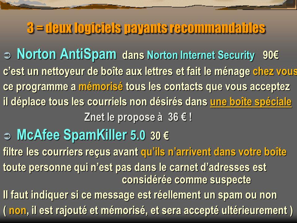 3 = deux logiciels payants recommandables Norton AntiSpam dans Norton Internet Security 90 Norton AntiSpam dans Norton Internet Security 90 cest un ne